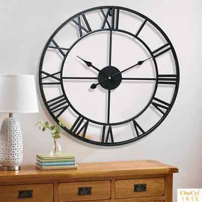 3D Wall Clock Roman Numerals Large Metal Round Black Rustic Open Face UK
