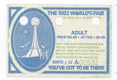 1982 Worlds/' Fair Special Tickets With Stub Attached 2