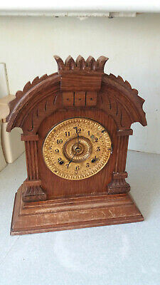 Antique - Insonia  - Tunis- 8 Day  Oak  Mantel Clock - Dated 1882-  Needs Work