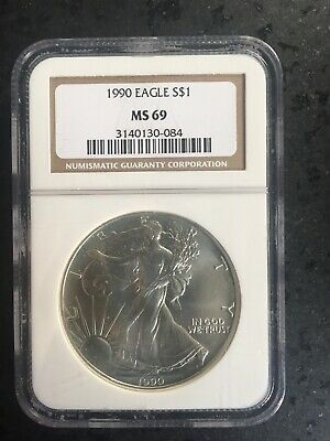 1990 American Silver Eagle Dollar NGC MS-69 Brown Label