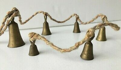 Vintage (Set of 6) Etched Hanging BRASS BELLS, DOOR CHIMES (Rope, Cord, Antique)
