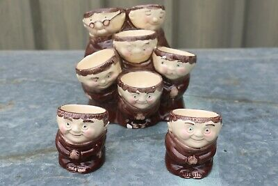 Vintage Weiss Pottery Friar Multi Egg Cups/Holders + 2 Singles