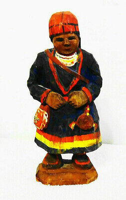 Rare Primitive Antique Hand Carved & Painted Wooden Female Figurine-Baby Ethnic