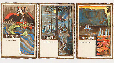 3 Rare Finland Postcards Illustrating Kalevala - Totally Hand Painted
