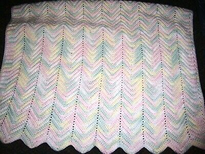 """HANDMADE  Pink and Blue Baby Coverlet - 30"""" x 40"""""""