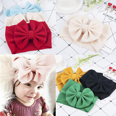 Toddler Girls Baby Big Bow Hairband Headband Stretch Turban Knot Head Wrap S8-