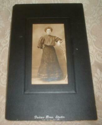 Vintage Cabinet Card Portrait Photo Woman Jewelry Locket ~Dallair Bros Studio Nr