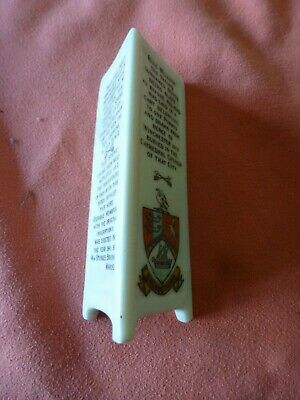 Piece Of 'Goss' Crested China In The Form Of A Memorial Triangle - Broadstairs