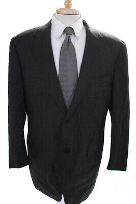 Canali Mens Wool Long Sleeve Two Button Down Blazer Jacket Gray Size 52