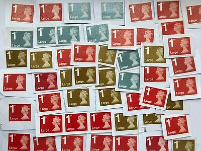 100 x 1st Class Large Letter Security Type Stamps Unfranked on White Paper