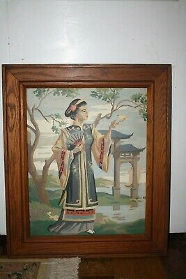 Vintage 1950's Paint By Numbers Framed Completed Asian Woman Fan Bird