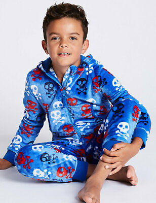M&S BNWT Boys Skull All in One 5-6yrs rrp £21 Soft Cobalt Blue, Red, White Black