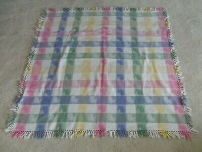 Easter Tablecloth Pastel Checks With Bunnies  48 Inches Without Fringe