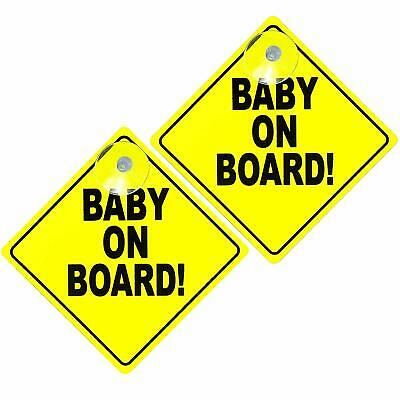 2 Baby on Board Car Signs w/ Suction Cup Baby Adult Passenger Warning Car Safety