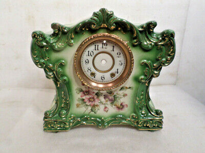 1890 American Green Floral Large Clock Case With Original Bezel & Porcelain Dial