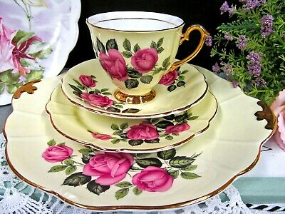 Windsor tea cup and saucer trio with cake plate PINK ROSE  pattern teacup 1940'S