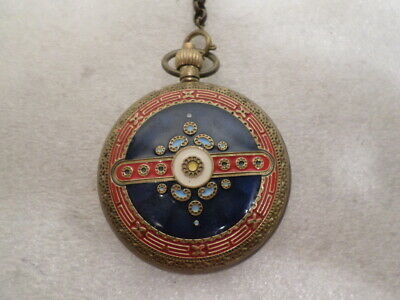 Engraved Enamel Hunter Case Pocket Watch With Chain