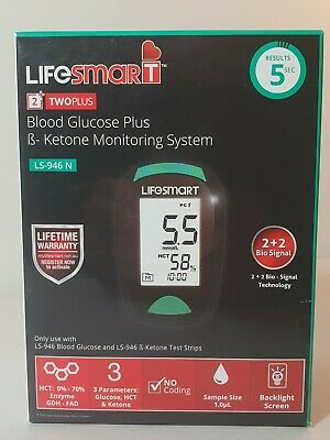 Lifesmart 2 Two Plus Blood Glucose Ketone Meter Monitoring System Machine Only