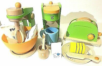 Hape Wooden Kitchen Playsets - Mixer, Toaster & Coffee Maker - Pretend Play Toy