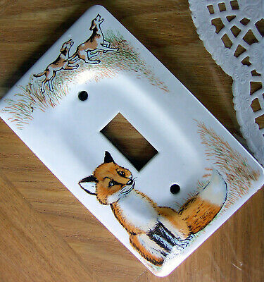 JASCO Fox Coyote Wolf Hunting Dogs Glaze Ceramic Light Wall Switch Plate Vintage