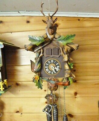 lovely 1960s musical cuckoo clock for repair hunting theme  blue danube regula