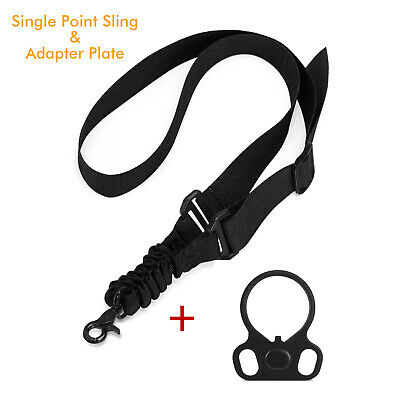 Tactical 1 One Single Point Sling + Plate Mount Adapter for Rifle Gun 3 Colours