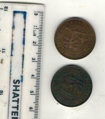 Canada, PRINCE EDWARD ISLAND 2 x 1871 ONE CENT COINS SEE PICTURES