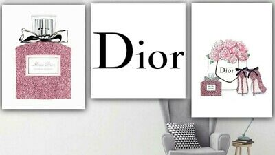 Set of 3 inspired by Dior fashion print  perfume bottle high heels Glitter A4