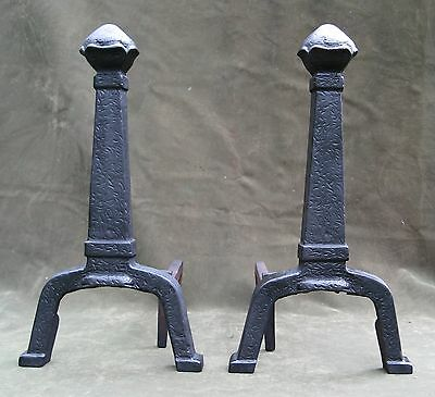 Vintage Antique Arts & Crafts Hammered Iron Andirons Fireplace