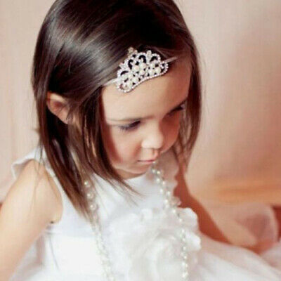 AM_ EE_ Baby Infant Toddler Girl Princess Crown Faux Pearl Headband Hairband Hea
