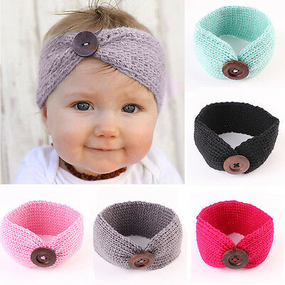 AM_ EG_ Kids Baby Girls Toddler Knitted Hair Band Headwear Button Decor Headband