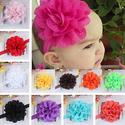 AM_ KF_ AU_ Baby Girls Kids Hollow Lace Flower Headband Headwear Hair Band Acces