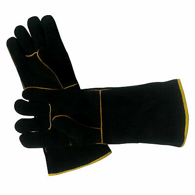 1 Pair Heavy Duty Long Welding Gloves Leather Protection Heat Resistant Black