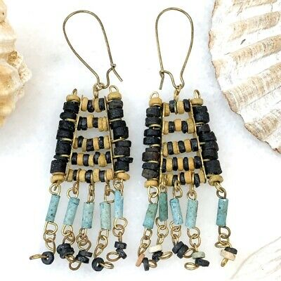 Vintage Faience Bead Earrings Egyptian Revival Jewelry Dangling Pierced Ears