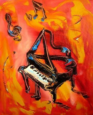 MUSIC Jazz PIANO  Mark Kazav  Abstract Modern CANVAS Original Oil Painting Y806T