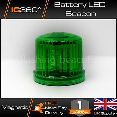 GREEN Warning LED Beacon Battery Operated - Magnetic Mount