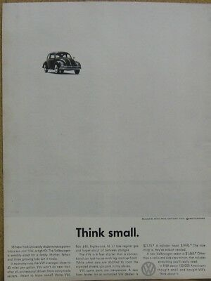 "1960 VW Volkswagen Beetle Ad - THINK SMALL 10x13"" Print Ad"