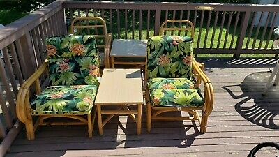 VTG Mid Century Modern Ficks Reed Rattan Furniture Tiki Bamboo 2 Tables 4 Chairs