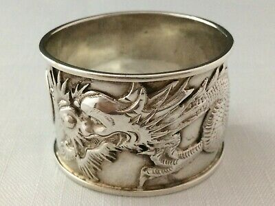 Antique Chinese Dragon Solid Silver Napkin Ring  Early 20 Century  39.3 gr