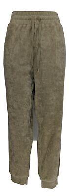 Anybody Women's Pants Sz L Baby Terry Jogger Pockets Olive Green A310045