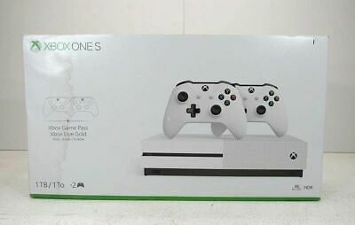 Microsoft 1681 XBox One S Game Console Two Controller Bundle 1TB White