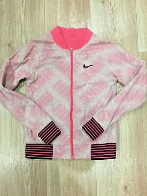 Nike sports jacket double-sided pink and gray for girls cotton on the lock.