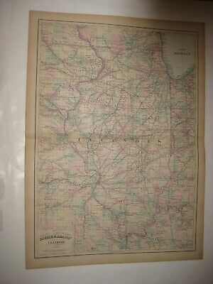 Huge Superb Antique 1872 Illinois Handcolored Railroad Dated Map Chicago Fine Nr
