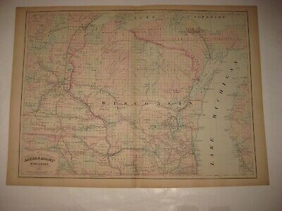 Huge Superb Antique 1872 Wisconsin Handcolored Railroad Dated Map Madison Fine