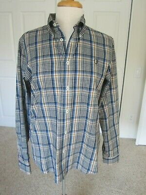 NWOT Ben Sherman M blue, gray, rust &white plaid cotton blend long sleeve shirt