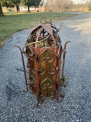 Large Vintage WROUGHT IRON Porch / Outside LANTERN Amber GLASS Electric LIGHTS