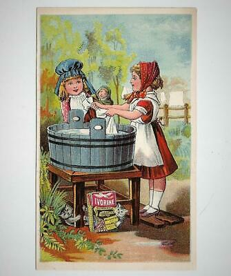 Antique Victorian Trade Card IVORINE CLEANSER Laundry Soap Girls Cats Wash Tub