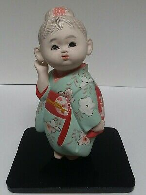 Vintage Hakata Doll Geisha Young Girl with Kimono Ceramic Figurine on Wood Base