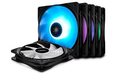 Deepcool RF 120M 120mm High Brightness RGB Fans (5 In 1 Pack With 2 Fan Hubs,