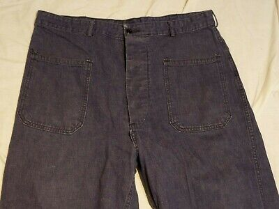 Vintage US Military NAVY USN U.S blue jeans button fly Pants 34x30
